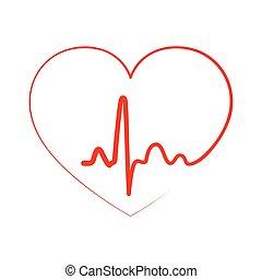 illustration., cuore, vettore, icon.