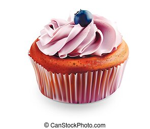 cupcake with blueberries