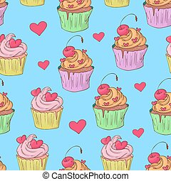 illustration., cupcakes., próbka, st., seamless, valentine, s, wektor, dzień