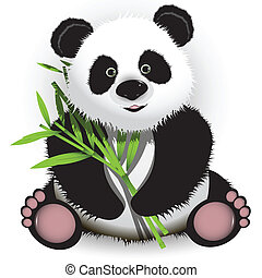 panda - illustration curious panda on stem of the bamboo