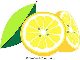 Illustration cut in half lemon with leaf