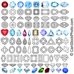 cut precious gem stones set of forms