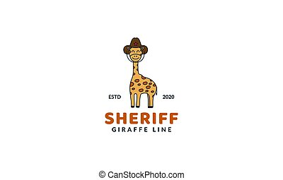 illustration cute cartoon animal giraffe  with hat line logo icon vector