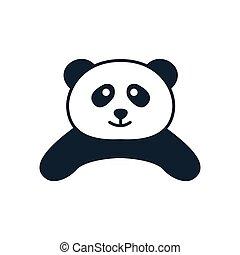 illustration cute cartoon animal panda smile head logo icon vector