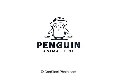 illustration cute cartoon animal penguin kids with hat line logo icon vector