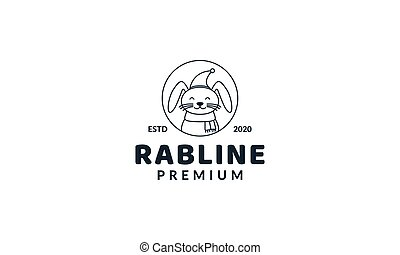illustration cute cartoon animal rabbit with hat  line logo icon vector