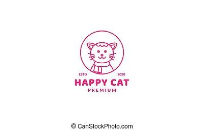 illustration cute cartoon cat circle line smile head face logo icon vector