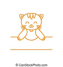 illustration cute cartoon cat line welcome logo icon vector