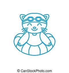 illustration cute cartoon cat swimming line logo icon vector