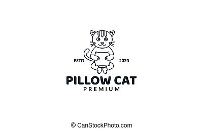 illustration cute cartoon cat with pillow line logo icon vector