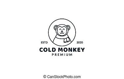 illustration cute cartoon monkey head face smile line circle  logo icon vector