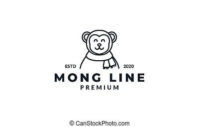 illustration cute cartoon monkey head face smile line  logo icon vector