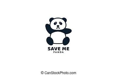 illustration cute cartoon panda face sad logo icon vector