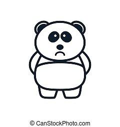 illustration cute cartoon panda sad line logo icon vector