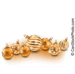 Cute Christmas Balls Isolated on White Background