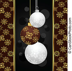 cute Christmas card with balls