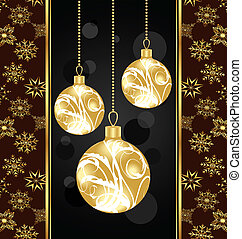 Christmas card with gold balls