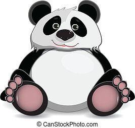cute fat panda - illustration cute fat panda on a white...