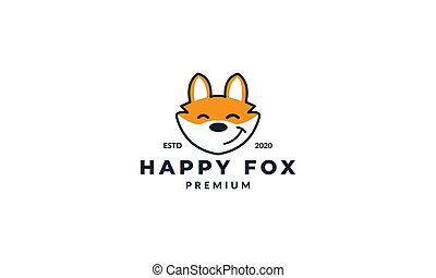 illustration cute fox head face smile happy logo design icon cartoon