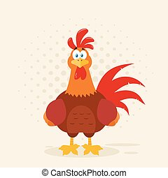 Illustration-Cute Red Rooster Bird Cartoon Mascot Character