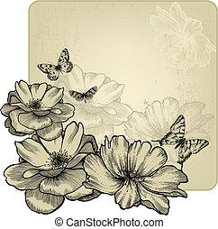 illustration., czarowny, rocznik wina, ułożyć, róże, motyle, wektor, hand-drawing.
