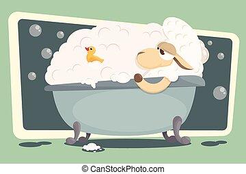 illustration., délassant, lamb., vecteur, bébé, carte