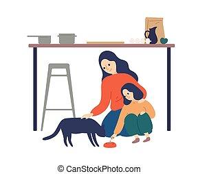 illustration., dépenser, plat, cuisine, enfant, soucier, enseignement, white., prendre, temps, heureux, vecteur, femme, fille, mignon, acheminant animal familier, apprécier, mère, sur, parent, chat, maternité, isolé, gosse, soin
