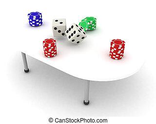 illustration, dés, table, jeu ecaille, piles, 3d