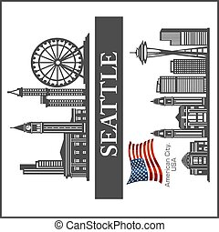 illustration., détaillé, seattle, usa, flag., ville, silhouette, horizon, vecteur