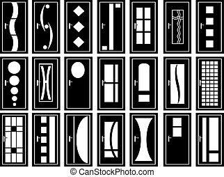 illustration, dörrar