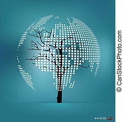 illustration., dado forma, map., árvore, vetorial, mundo