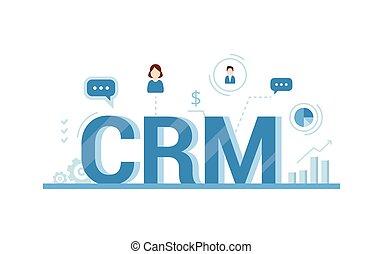 illustration., dados, organização, concept., vetorial, gerência, relacionamento, trabalho, crm, clientes, cliente