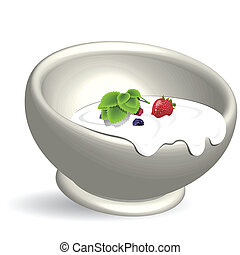 illustration dairy product with berry in white cup