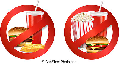 illustration., danger, nourriture, jeûne, vecteur, label.
