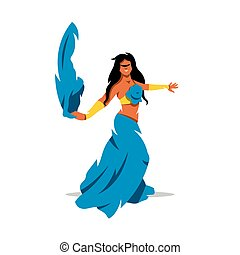 illustration., danse, traditionnel, vecteur, ventre, girl, robe, dessin animé