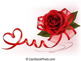illustration., dar, róża, valentine`s, tło., wektor, bow., dzień, czerwony
