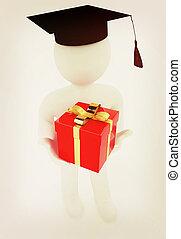 illustration., dar, rocznik wina, skala, tło., biały, człowiek, kapelusz, style., 3d