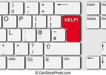 illustration, dator, hjälp, tangentbord, begrepp, röd, pc