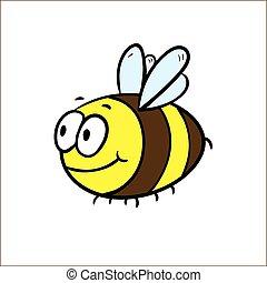 illustration, de, a, amical, mignon, abeille, voler, et, sourire