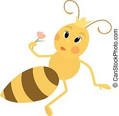 illustration, de, a, mignon, reine abeilles