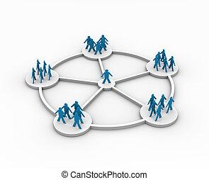 illustration, de, a, personne, connecté, à, différent, groupes