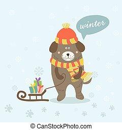 illustration, de, a, scène hiver, à, a, dessin animé, chien