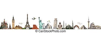 illustration, de, célèbre, monument, de, monde