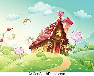 Illustration gai pr escargot - Maison en biscuit et bonbons ...