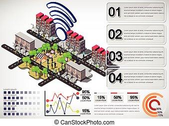 illustration, de, information, graphique, urbain, ville, concept