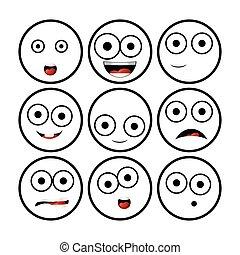 illustration, de, moderne, plat, collection, à, différent, emoticons