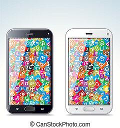 illustration, de, noir blanc, moderne, intelligent, téléphone