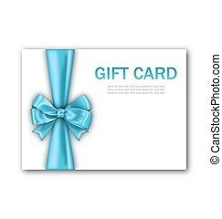 Decorated Gift Card with Blue Ribbon and Bow