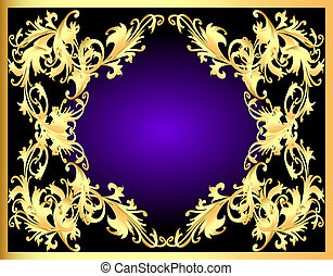 decorative background frame with gold(en) pattern