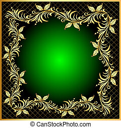 decorative frame background with gold(en) pattern with net...